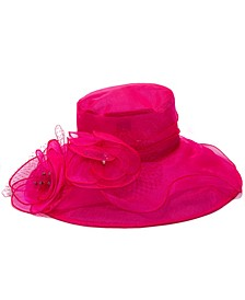 Big Flower Organza Widebrim Hat