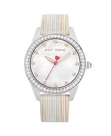 Women's Textured Silver Genuine Leather Strap Bracelet Watch 40mm