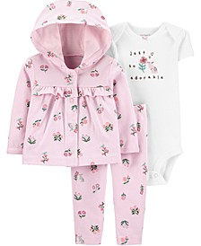 Baby Girls 3-Pc. Graphic Bodysuit, Floral-Print Hoodie & Pants Set