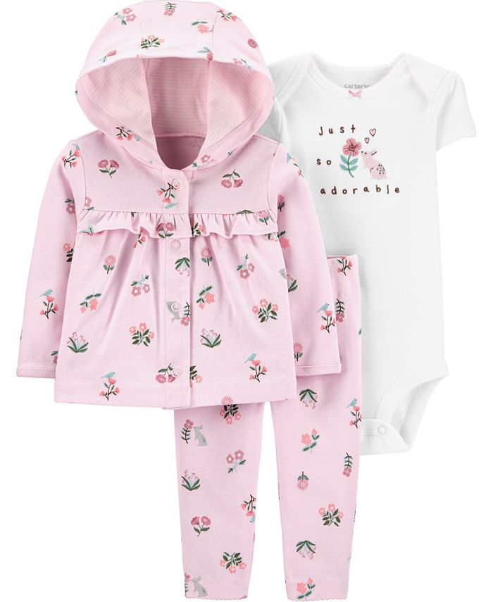 Carter's - Baby Girls 3-Pc. Graphic Bodysuit, Floral-Print Hoodie & Pants Set