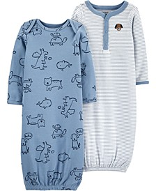 Baby Boys 2-Pack Cotton Sleeper Gowns