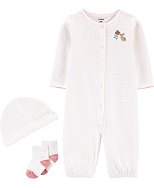 Baby Girls 3-Pc. Cotton Coverall, Hat & Socks Set