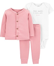 Baby Girls 3-Pc. Cotton Bodysuit, Cardigan & Pants Set