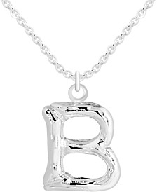"""Initial Bamboo-Look 18"""" Pendant Necklace in Fine Silver-Plate"""