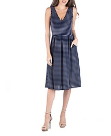 Fit and Flare Midi Sleeveless Polka Dot Dress with Pockets