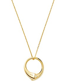 "14k Gold-Plated Sterling Silver Cubic Zirconia Bypass Pendant Necklace, 16"" + 2"" extender"