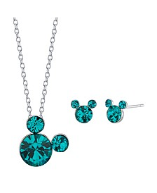 """Fine Silver Plated Crystal Birthstone Mickey Mouse Earring and Necklace Set, 16""""+2"""" Extender"""