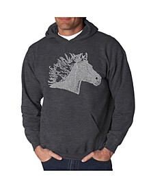 Men's Horse Mane Word Art Hooded Sweatshirt