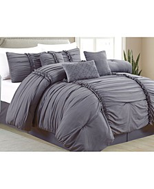 Pleated 7 Piece Comforter Set, Queen