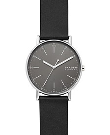 Men's Signatur Black Leather Strap Watch 40mm