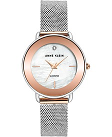 Women's Diamond-Accent Two-Tone Stainless Steel Mesh Bracelet Watch 32mm
