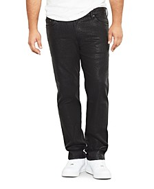 Men's Big Tall Cobra Print Wax Straight Fit Jeans