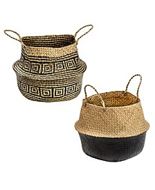 Set of 2 Folding Seagrass Belly Baskets