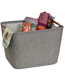Medium Tapered Soft-Side Storage Bin with Wood Handles