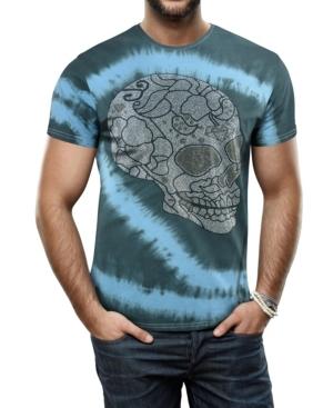 Men's Sugar Skull Inspired Graphic Printed Rhinestone Studded T-Shirt