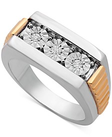 Men's Diamond Two-Tone Ring (1/10 ct. t.w.) in Sterling Silver & Gold-Plate