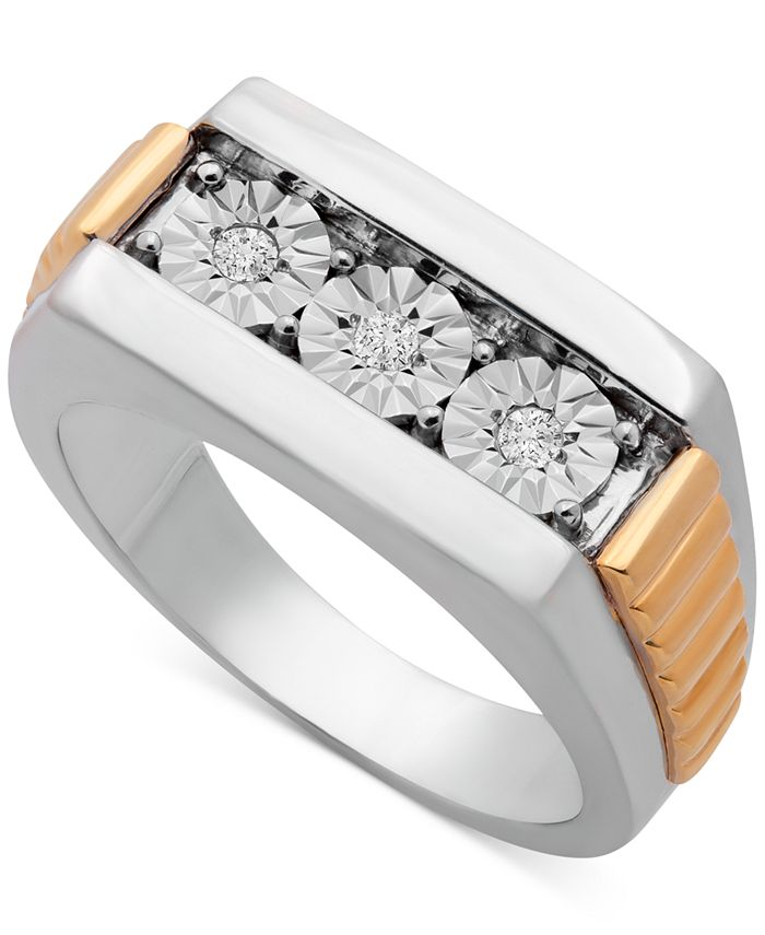 Macy's - Men's Diamond Two-Tone Ring (1/10 ct. t.w.) in Sterling Silver & Gold-Plate