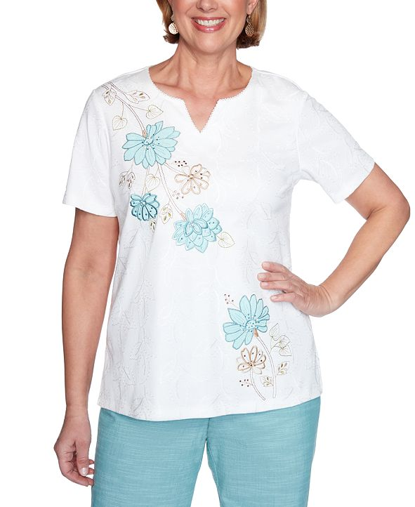 Alfred Dunner Petite Desert Oasis Embroidered Top