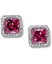 Rhodolite (2 ct. t.w.) & Diamond (1/6 ct. t.w.) Stud Earrings in 14k White Gold