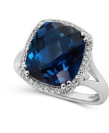 London Blue Topaz (7 ct. t.w.) & Diamond (1/6 ct. t.w.) Statement Ring in 14k White Gold