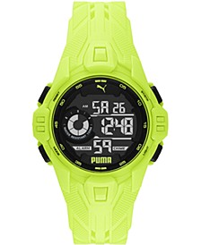 Men's Bold Yellow Silicone Strap Watch 45mm