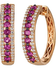 Passion Ruby (5/8 ct. t.w.) & Vanilla Diamond (1/3 ct. t.w.) Small Hoop Earrings in 14k Rose Gold