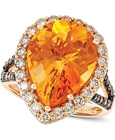 Cinnamon Citrine (6-3/8 ct. t.w.) & Diamond (1 ct. t.w.) Ring in 14k Rose Gold