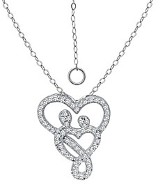 "Cubic Zirconia Intertwined Mom & Child Heart Pendant Necklace in Sterling Silver, 16"" + 2"" extender, Created for Macy's"