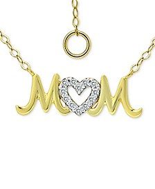 "Cubic Zirconia ""Mom"" Nameplate Pendant Necklace in Sterling Silver & 18k Gold-Plate, 16"" + 2"" extender, Created for Macy's"