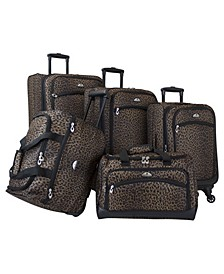 AnimalPrint 5 Piece Spinner Luggage Set