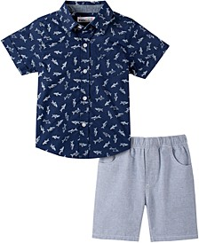 Baby Boys 2-Pc. Shark Shirt & Striped Shorts Set