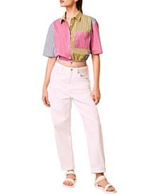 Ayami Cotton Striped Cropped Shirt