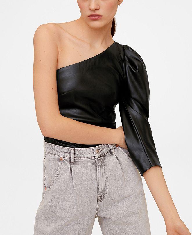 MANGO Puffed Sleeves Asymmetric T-Shirt
