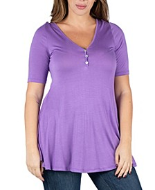 Women's Plus Size Henley Tunic Top
