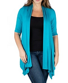 Women's Plus Size Elbow Length Sleeve Open Front Cardigan