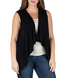 Women's Plus Size Open Front Cardigan Vest