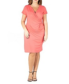 Women's Plus Size Short Sleeve V-neck Faux Wrap Dress