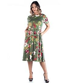 Women's Plus Size Floral Midi Dress