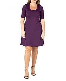 24seven Comfort Apparel Women's Plus Size Elbow Sleeve Dress