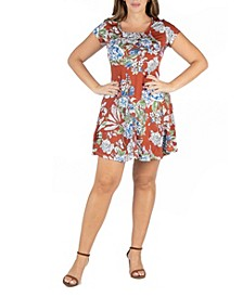 Women's Plus Size Short Sleeve Floral T-Shirt Dress