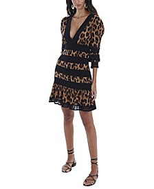 Women's Leopard Lace Trim Mini Dress