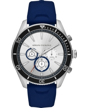 Men's Chronograph Enzo Navy Silicone Strap Watch 46mm