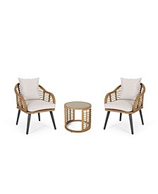 Chadbourne Outdoor Modern Boho Chat Set with Side Table