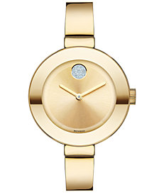 Movado Women's Swiss Bold Gold Ion-Plated Stainless Steel Bangle Bracelet Watch 34mm 3600201