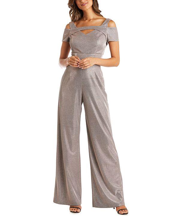 Nightway Cold-Shoulder Shimmer Jumpsuit