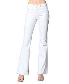 High Rise Released Hem Inner Slit Flare Jeans