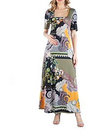 Multicolor Paisley Floral Print Maternity Maxi Dress