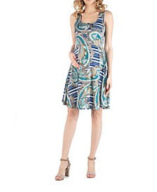 Paisley A Line Fit and Flare Maternity Dress