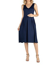 Fit and Flare Sleeveless Maternity Midi Dress with Pockets