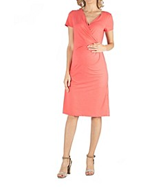 Faux Wrapover Maternity Dress with Cap Sleeves